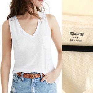 Madewell whisper cotton vneck pocket tank